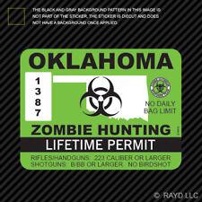Oklahoma Zombie Hunting Permit Sticker Die Cut Decal Usa Outbreak Response