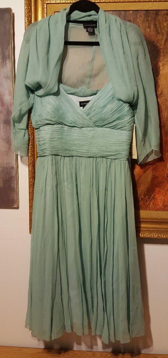 Bloomingdale's Sutton Studio Women's  Mist  100% Silk Dress -  Size 14 - NWT
