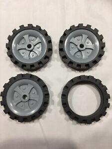 """Knex Wheels Lot 4 Medium Tires 2.5"""" Gray Hubs Pulleys ..."""