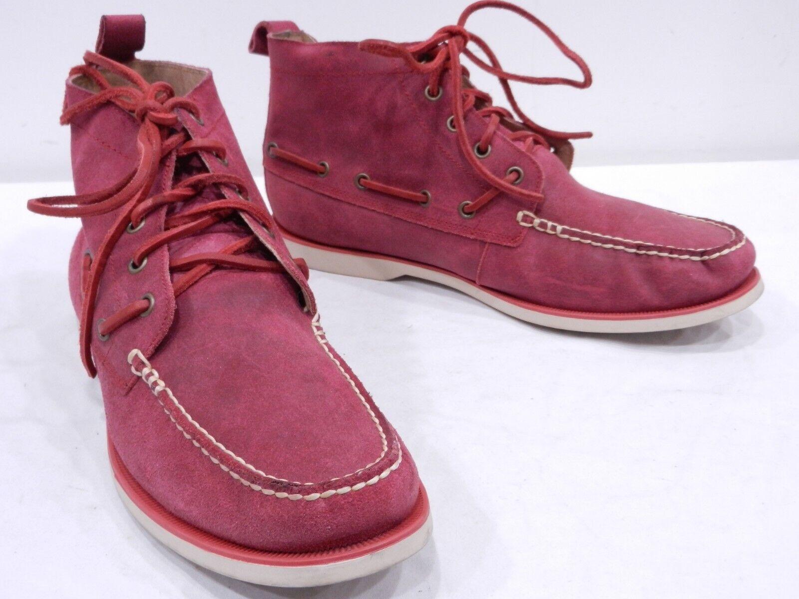 POLO RALPH LAUREN 'Basildon' Mens 10.5 Red Suede Moc Toe Campside Ankle Boots