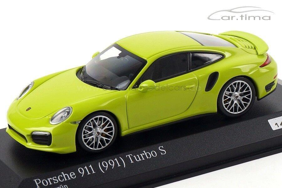 1 43 minichamps porsche 911 (991) 2013 turbo s grün - gelben le 200 cartima exkl.