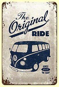 VW Campingbus Original Ride Geprägt Metall Schild 300mm x 200mm (Na )