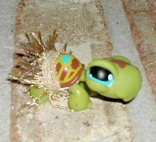 Littlest Pet Shop HAWAIIAN TURTLE w grass skirt 393 BLUE HEART  around the world