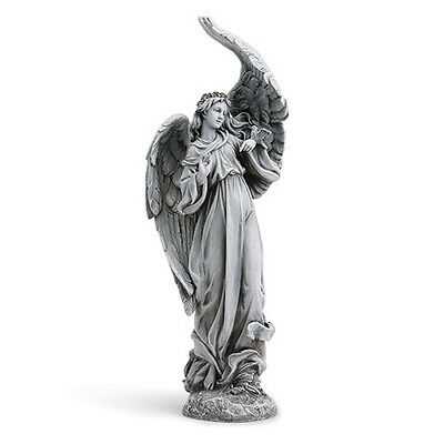 Angel Praying Garden Statue W Birds  Memorial Gift  Grave or Home Guardian Angel