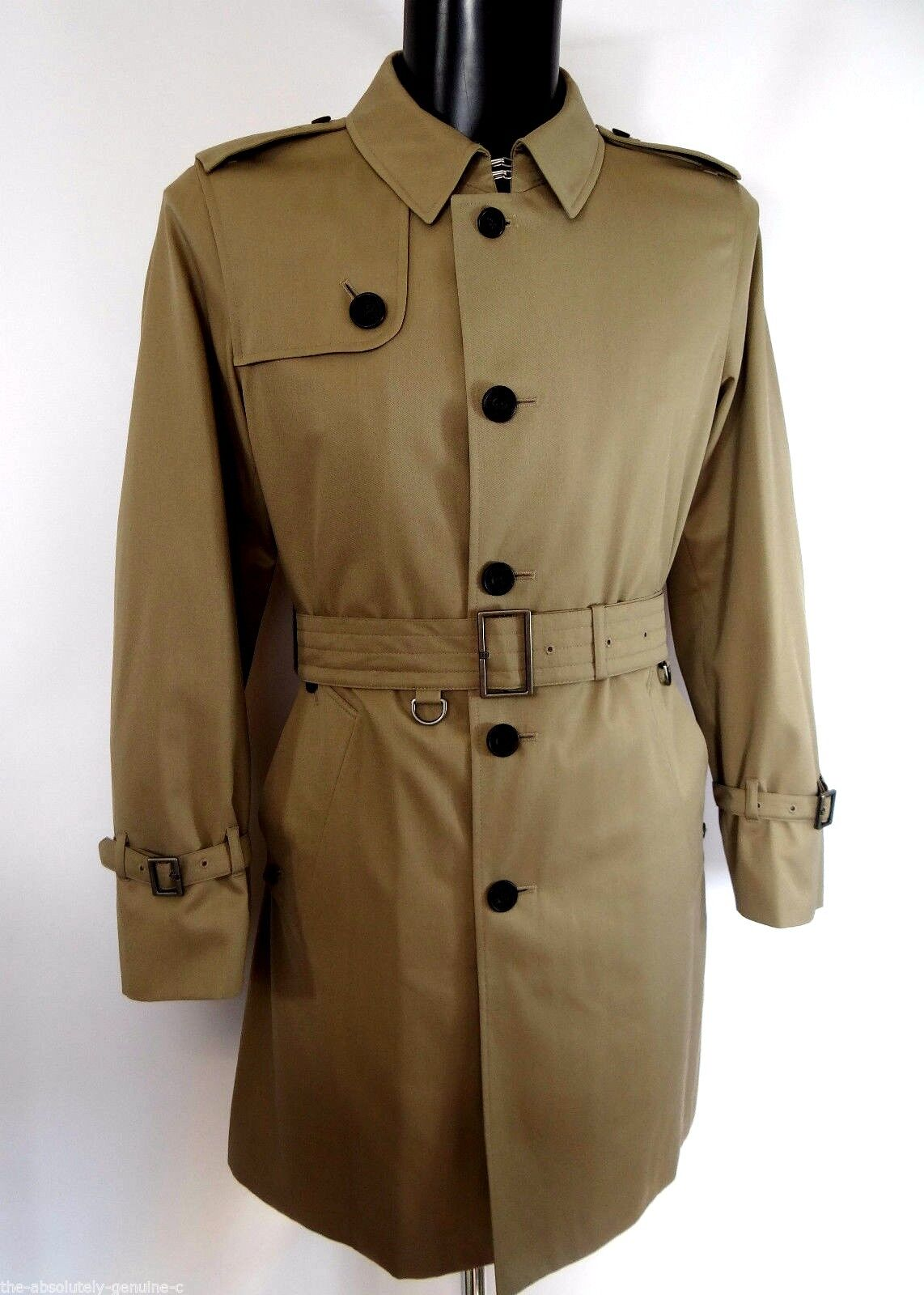 AQUASCUTUM SINGLE BREASTED Beige Trench Coat Größe 44 BNWT CRAFTED IN ENGLAND
