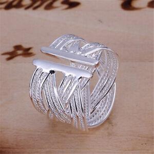Damen-Silberring-Schlicht-Mehrreihig-Vintage-Breit-Ring-Silber-925-Verstellbar