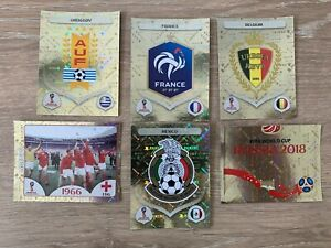 2018 Russia World Cup Stickers gold foil shiny x 6 stickers - France, England