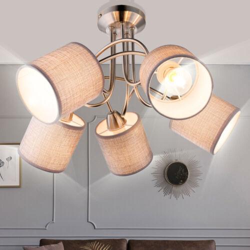 Design Decken Strahler Esszimmer Leuchte Küchen Textil Schirm Lampe grau D 46 cm