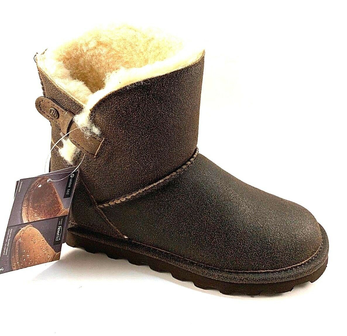 BearPaw Margaery Chestnut Suede Leather Sheepskin Wool Water Resistant Boot