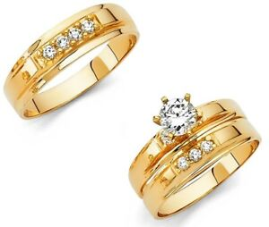 Gold Wedding Rings.Details About 14k Solid Yellow Italian Gold Wedding Band Bridal Solitaire Engagement Ring Set