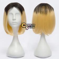 Anime Black Mixed Blonde Haikyu!! Kozume Kenma Short Straight Hair Cosplay Wig