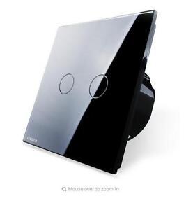2 Gangs 1 Way Wall Light Touch Screen Switch Crystal Glass panel LED EU Standard