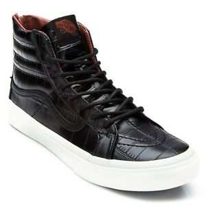e6037bb01d5426 VANS SK8-HI SLIM ZIP LEATHER CROC Shoes (BLACK BLACK) BRAND NEW in ...
