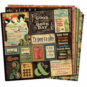 GRAPHIC-45-034-TYPOGRAPHY-034-12X12-PAPER-RETIRED-8-SHEETS-SCRAPJACK-039-S-PLACE