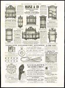 Details about 1887 - ADVERTISING MAPLE FURNISHERS NICHOLSONS FASHIONS CHUBB  SAFES THURSTON(41)