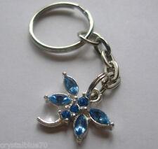 Rhinestone Keyring Dragonfly Light Blue Charm Key Chain Silver Plated 70mm  B-DF