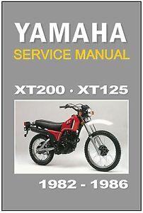 yamaha workshop manual xt200 xt125 1982 1983 1984 1985 1986 rh ebay com Yamaha Engine yamaha majesty yp400 pdf service repair workshop manual