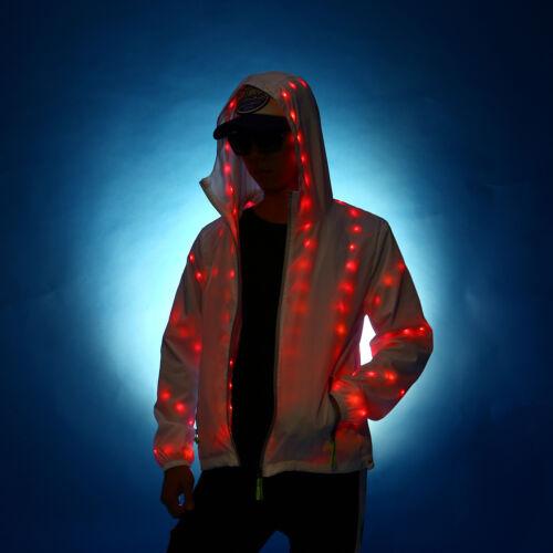 Nightclub Party Veste Light À Up Capuche Manteau Hommes Femmes Luminous Led Outwear TRAxwaqY