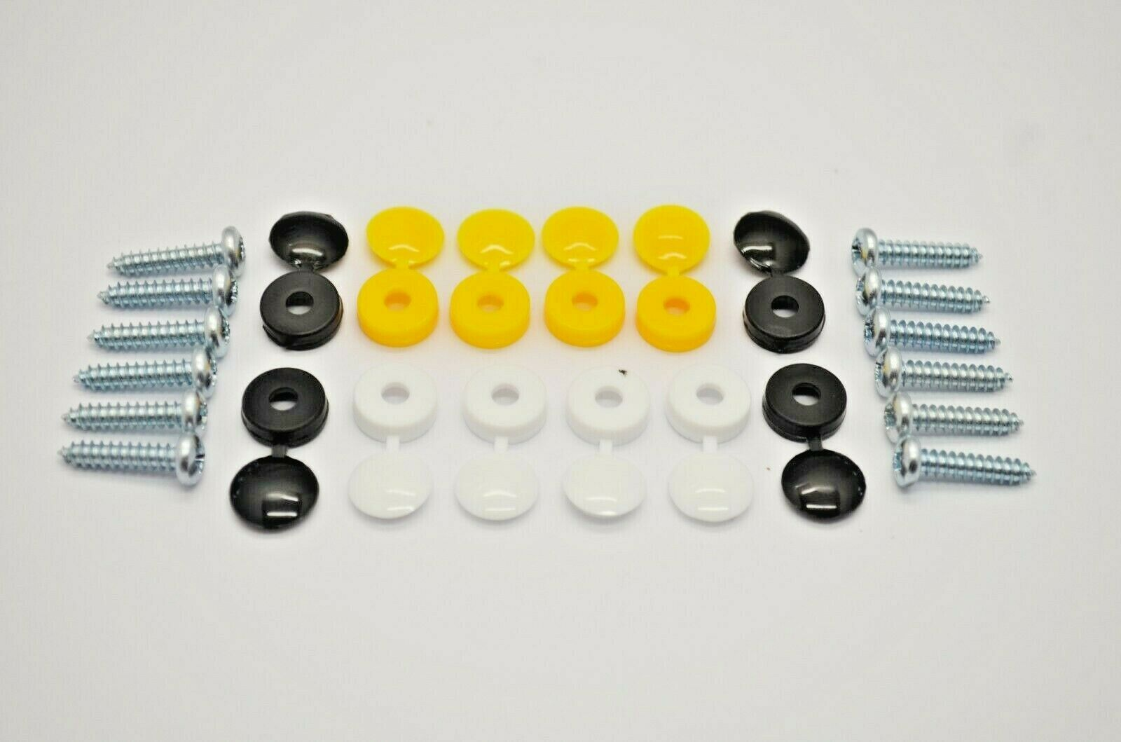Car Number Plate Fixing Fitting Kit Screws And Caps 12 Black White Yellow 24 Pcs