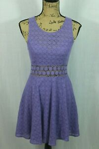 Free-People-Size-4-Lace-Eyelets-Dress-Fit-and-Flare-Floral-Lavender-Purple-Mini