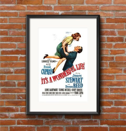 It/'s a Wonderful LifeQuality A3 Movie Poster Art Gift Christmas James Stewart