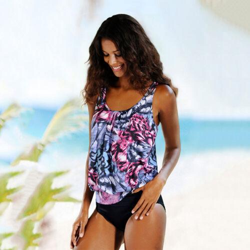 Damen Übergröße Tankini Set Bademode Badeanzug Bikini Push Up Schwimmanzug 38 40