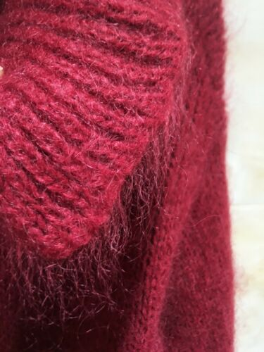 Mohair Blended Jumper Fuzzy Cardigan Lapel Collare