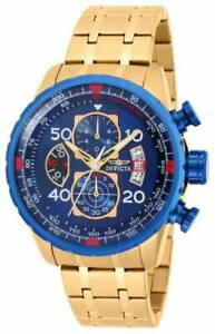 Invicta-Men-039-s-Watch-Aviator-Chronograph-Blue-and-Gold-Tone-Dial-Bracelet-19173