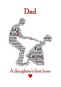Image Is Loading Dad Daddy Amp Daughter Dancing Word Art Birthday