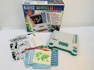 Vintage-Vtech-World-Wizard-Traveller-Held-Electronic-Game-20-Double-Sided-cards
