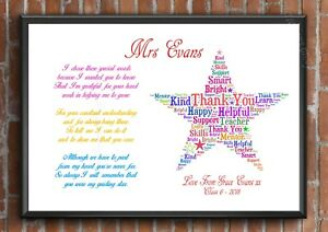 Details about Thank You Teacher Gift STAR Personalised TA School Leaving  Present A4 Poem