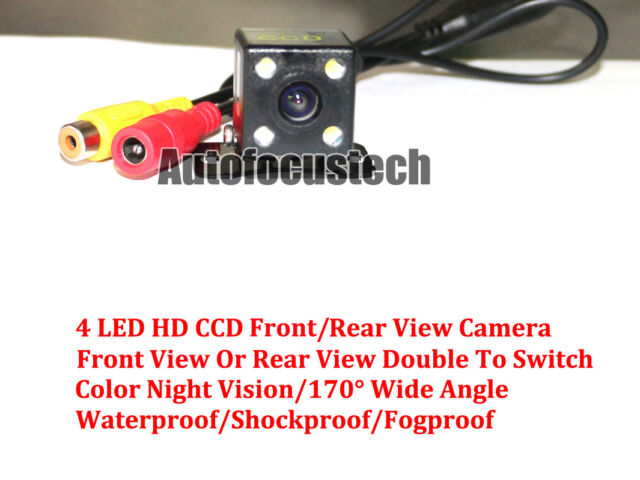 Car Parking Reverse HD CCD Rear Front Camera 4 LED Color Night Vision Waterproof