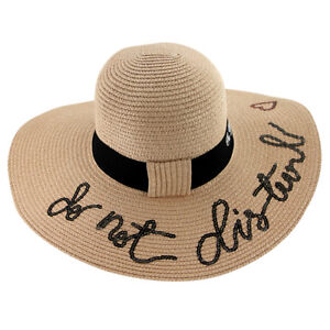 2fdb09d4446 Do not Disturb Ladies Summer Sun Beach Pool Straw Large Brim Sun ...