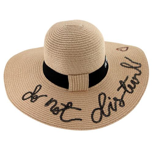Do not Disturb Ladies Summer Sun Beach Pool Straw Large Brim Sun Floppy Hat KK
