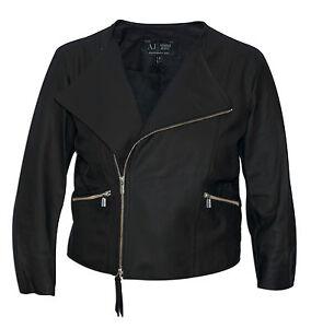 half price shades of on wholesale Détails sur Authentique armani jeans pour femme veste en cuir noir courte  (t6b03) (R2)- afficher le titre d'origine