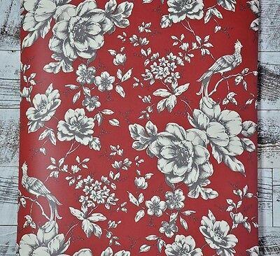 ONE DOUBLE ROLL Victorian Bird Floral Red Grey Cream Designer Wallpaper Diy