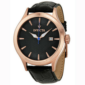 Invicta-12239-Men-039-s-Vintage-Silver-Dial-Black-Leather-Band-Rose-Gold-Steel-Watch