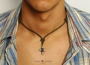 Mens-CROSS-PENDANT-Leather-NECKLACE-Cord-Rope-for-Men-Man-Surfer-Chain-Beads
