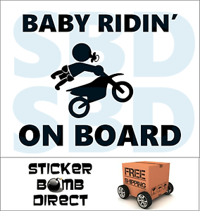 Baby On Board Decal Sticker Baby Shower Rider Riding Cute Funny Car Safety First