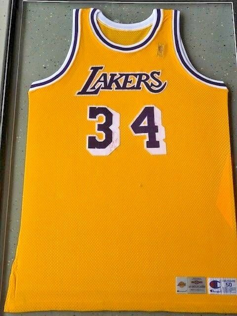 b9e3248ea Framed Shaquille O Neal Signed Autographed Game Worn 96 Lakers Jersey JSA  Z70862