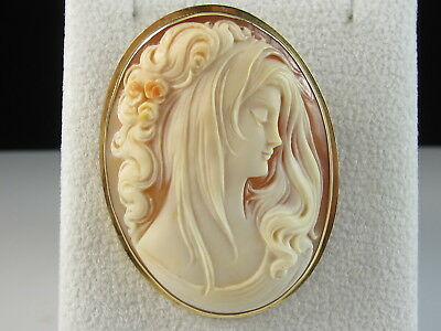 18K Cameo Brooch Pin Pendant Signed ITALY Yellow Gold Estate Shell Woman