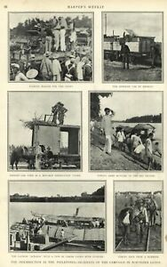 Philippine-American-War-photographs-troops-Harper-039-s-Weekly-1900-great-old-print