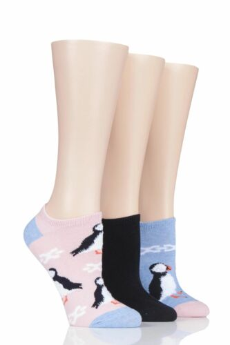 Ladies 3 Pair SockShop Wild Feet Puffin Cotton Trainer Liner Socks
