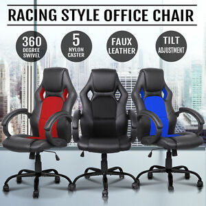 Racing-Office-Chair-Seat-Executive-Computer-Gaming-PU-Leather-Deluxe-Style
