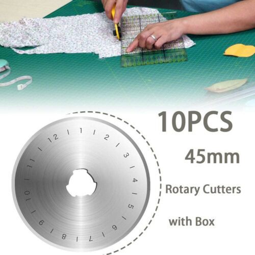 10PCS 45mm Rotary Cutter Refill Blades Quilters Sewing Fabric Cutting Tools US