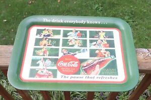 """2003 Metal Coca Cola Tray """"The Drink Everybody Knows, The Pause That Refreshes"""