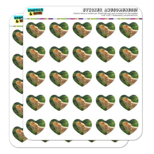 Bearded Dragon in Profile Heart Shaped Planner Calendar Scrapbook Craft Stickers