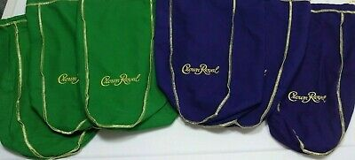 """Mixed Lot of 6 Crown Royal Bags 1.75L xl Size 3 Green /& 3 Purple 13/"""" Extra Large"""