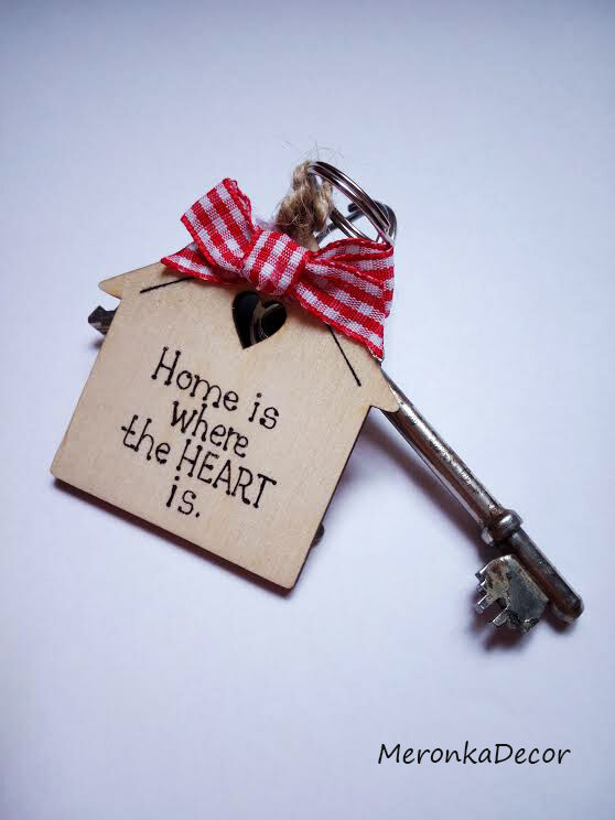 Genteel Home Is Where The Heart Is- Sweet Home- Keyring-personalised Wooden House -red Choice Materials