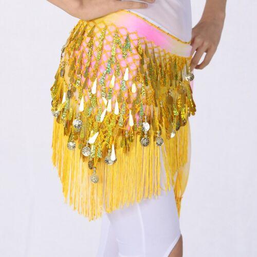 Dance Hip Scarf Belly Dancing Shiny Sequin Tassel Coins Decor Skirt Belt Wrap